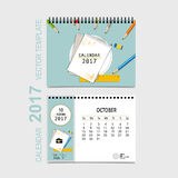 2017 Calendar planner vector design, monthly calendar template f. Or October Stock Images