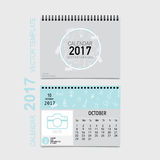 2017 Calendar planner vector design, monthly calendar template f. Or October Stock Photo