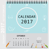 2017 Calendar planner vector design, monthly calendar template f. Or September Royalty Free Stock Photos