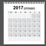 2017 Calendar planner vector design, monthly calendar template f. Or September Stock Photos