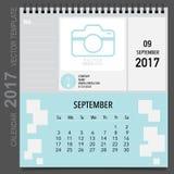 2017 Calendar planner vector design, monthly calendar template f. Or September Stock Images