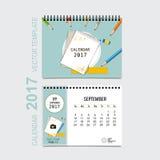 2017 Calendar planner vector design, monthly calendar template f. Or September Stock Image