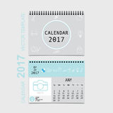 2017 Calendar planner vector design, monthly calendar template. For July Royalty Free Stock Photography