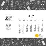 2017 Calendar planner vector design, monthly calendar template. For July Stock Images