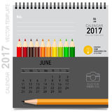 2017 Calendar planner vector design, monthly calendar template. For June Royalty Free Illustration