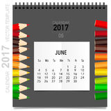 2017 Calendar planner vector design, monthly calendar template. For June Stock Illustration