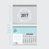 2017 Calendar planner vector design, monthly calendar template. For November Stock Images