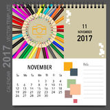 2017 Calendar planner vector design, monthly calendar template. For November Royalty Free Stock Images