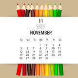 2017 Calendar planner vector design, monthly calendar template. For November Royalty Free Stock Photography