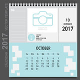 2017 Calendar planner vector design, monthly calendar template  Royalty Free Stock Image