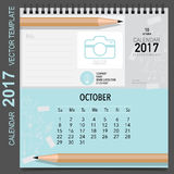 2017 Calendar planner vector design, monthly calendar template. For October Stock Images