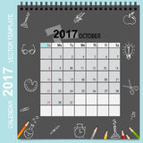 2017 Calendar planner vector design, monthly calendar template. For October Stock Photos