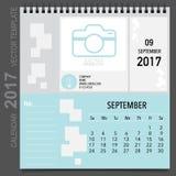 2017 Calendar planner vector design, monthly calendar template. For September Royalty Free Stock Photo