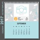2017 Calendar planner vector design, monthly calendar template. For September Royalty Free Stock Image