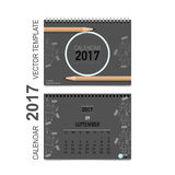 2017 Calendar planner vector design, monthly calendar template. For September Stock Photography