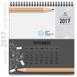2017 Calendar planner vector design, monthly calendar template. For September Royalty Free Stock Images