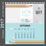 2017 Calendar planner vector design, monthly calendar template. For September Stock Image