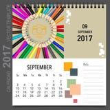 2017 Calendar planner vector design, monthly calendar template. For September Stock Photos