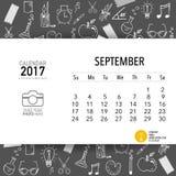 2017 Calendar planner vector design, monthly calendar template. For September Stock Photo