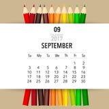 2017 Calendar planner vector design, monthly calendar template. For September Vector Illustration