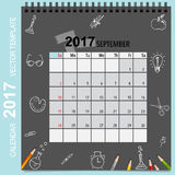 2017 Calendar planner vector design, monthly calendar template. For September Royalty Free Stock Photography