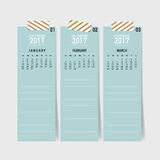 2017 Calendar planner, vector design template. 2017 Calendar planner, vector design template Royalty Free Stock Photography