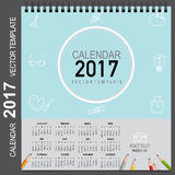 2017 Calendar planner, vector design template. Set of 12 months. Week starts Sunday Stock Photo