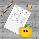2017 Calendar planner, vector design template. Set of 12 months. Week starts Sunday Stock Image