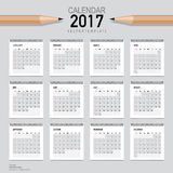 2017 Calendar planner, vector design template. Set of 12 months. Stock Images