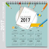 2017 Calendar planner, vector design template. Set of 12 months. Stock Photo