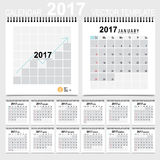 2017 Calendar planner, vector design template. Set of 12 months. Royalty Free Stock Photo