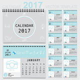 2017 Calendar planner, vector design template. Set of 12 months. Week starts Sunday Vector Illustration