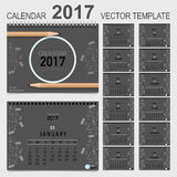 2017 Calendar planner, vector design template. Set of 12 months. Week starts Sunday Royalty Free Stock Photos