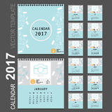 2017 Calendar planner, vector design template. Set of 12 months. Week starts Sunday Royalty Free Stock Photo