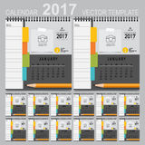 2017 Calendar planner, vector design template. Set of 12 months. Week starts Sunday Stock Illustration