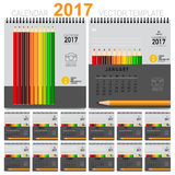 2017 Calendar planner, vector design template. Set of 12 months. Stock Photography