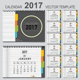 2017 Calendar planner, vector design template. Set of 12 months. Week starts Sunday Stock Images