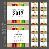 2017 Calendar planner, vector design template. Set of 12 months. Royalty Free Stock Photography