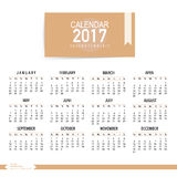 2017 Calendar planner, vector design template. Set of 12 months. Week starts Sunday Royalty Free Stock Image