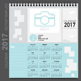 2017 Calendar planner, vector design template. Set of 12 months. Week starts Sunday Royalty Free Stock Images