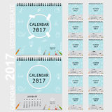 2017 Calendar planner, vector design template. Set of 12 months. Week starts Sunday Royalty Free Stock Photography