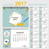 2017 Calendar planner, vector design template. Set of 12 months. Week starts Sunday Stock Photography