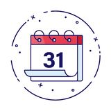 Calendar or planner vector illustration for winter holidays. 31 December illustration. New Year celebration. New month, new stock illustration
