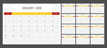 Calendar planner 2018. Calendar 2018 week start on Sunday corporate design planner template Stock Photos