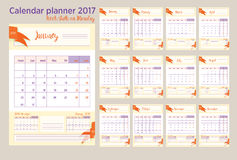 2017 Calendar planner Week starts on Monday Royalty Free Stock Photos