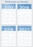 2017 Calendar planner Week starts on Monday Stock Image