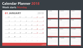 Calendar planner 2018, week starts monday, vector design template Royalty Free Stock Photos
