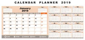 Calendar planner 2019. White,beige, gray, black and orange background stock illustration