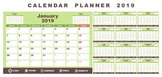 Calendar planner 2019 vector illustration
