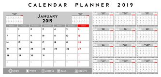 Calendar planner 2019. White, grey, black and red background Royalty Free Stock Images
